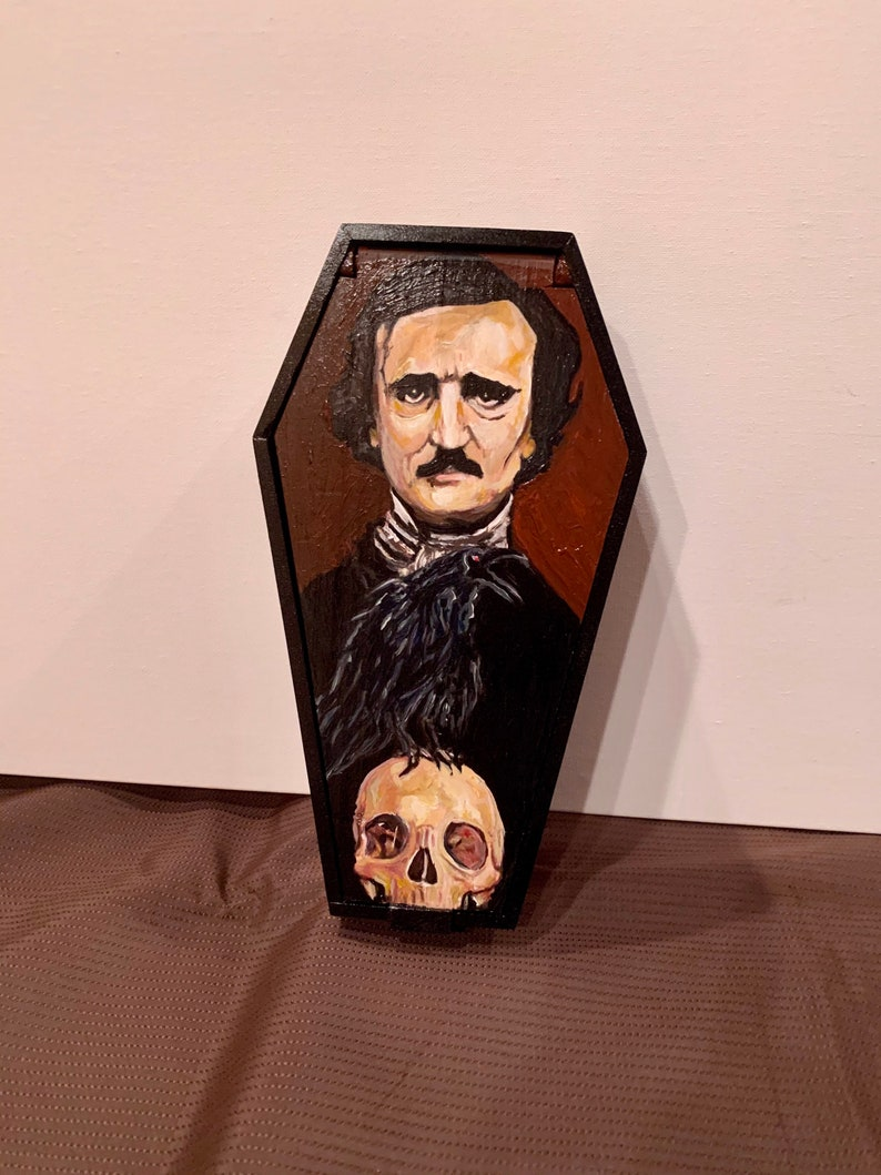 Edgar Allan Poe   Hand Painted   JewelryTrinket Box Acrylic Paint on Wood   11\u201d Tall x 7\u201d Wide x 3 Deep