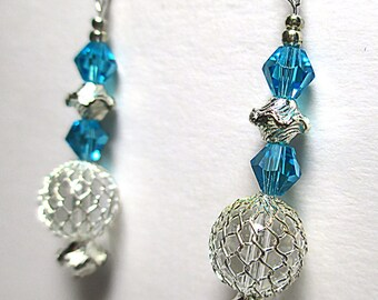 AQUA CRYSTAL chandelier earrings w/aqua faceted 6mm bicone glass crystals, silver beads & wire net crystals, handmade