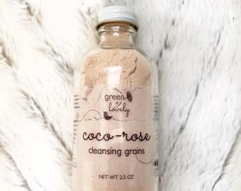 Coco-Rose Cleansing Grains /// Dry Cleanser, Exfoliant, Gluten Free, French Pink Clay, Coconut Milk and Honey Powders. Organic Skin Care.