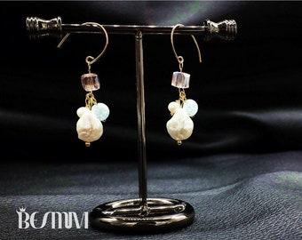 Dangle Austrian crystal & baroque pearl earrings
