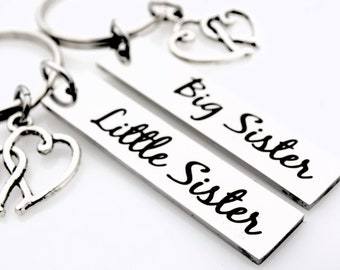 Sorority Sisters, Big Little Gifts, Matching set of 2, Hand stamped keychain set, Sisters Forever, Gift for Sisters, Sorority sisters gifts