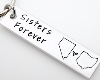 Gift for long distance sister, handstamped state keychains  USA customize it with your 2 states. Sisters forever gift for sister best friend