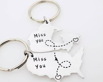 Long distance relationship - State maps - Matching set of 2 Keychains LDR Best friends Going away to college Gift for long distance parents
