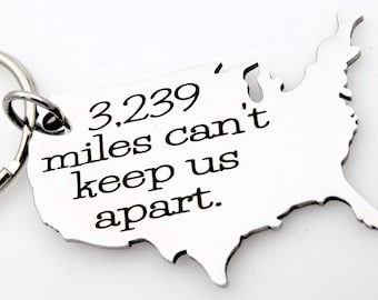 Custom Long Distance Relationship Stainless Steel USA Map Keychain