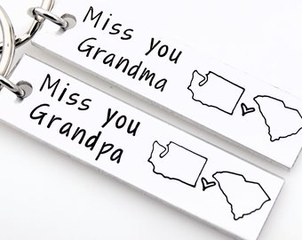 Gift for Grandparents, Long distance Grandmother and Grandfather keychain, moving away gift to grandparents, grandchild grandchildren gifts