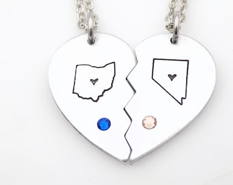 Matching heart State Birthstone custom handstamped long distance jewelry 2 necklaces with stones gift for long distance sister best friend