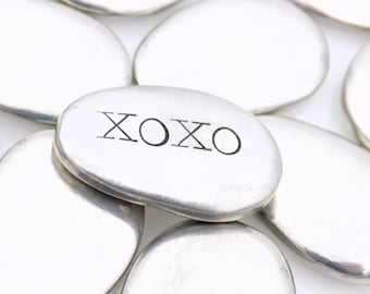 Pocket hugs and kisses, custom pocket stone, pewter pebble, hand stamped gift for him her, I love you gift for Valentine's day Anniversary