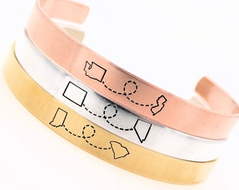 Gift for long distance girlfriend, best friend, sister, Long distance relationship, State to state Cuff, Gold Rose Gold Silver, Personalized