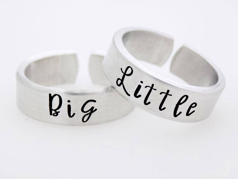 Big Little Sorority Sisters Hand Stamped Matching Ring Set of image 0