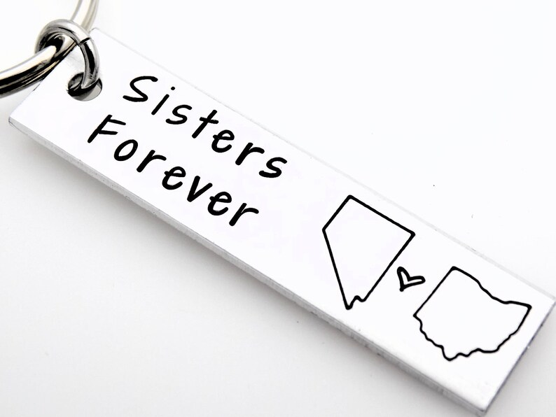 Gift for long distance sister handstamped state keychains image 0