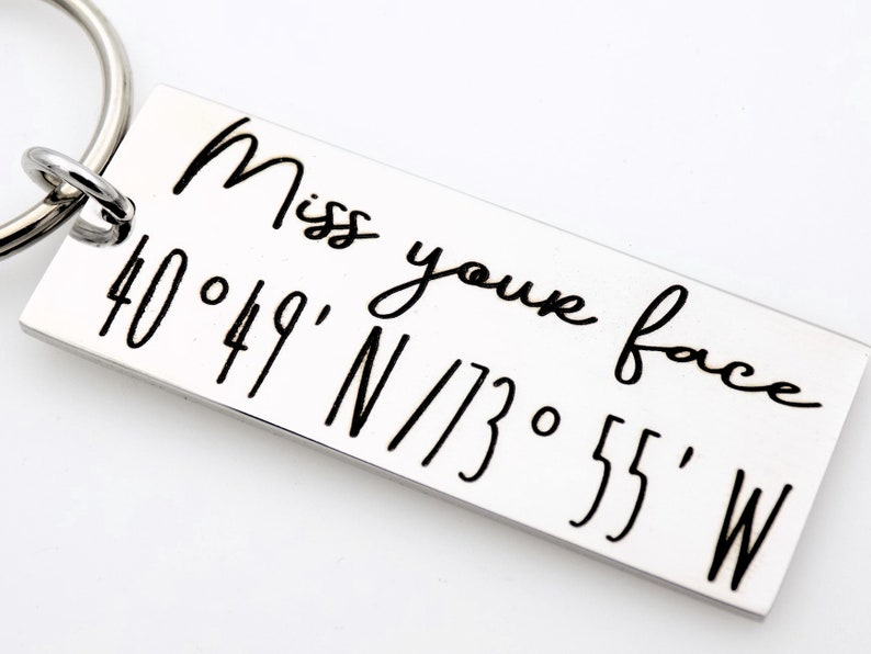 Custom Coordinates Hand Stamped keychain Long distance Love image 0