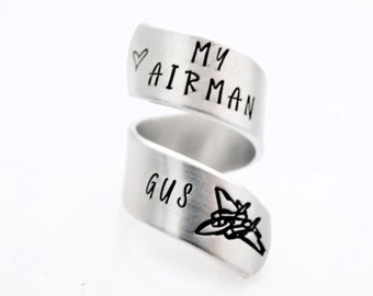 Love my Airman, Airman Girfriend or wife, custom with name optional - armed forces - handstamped silver adjustable twist ring anchor