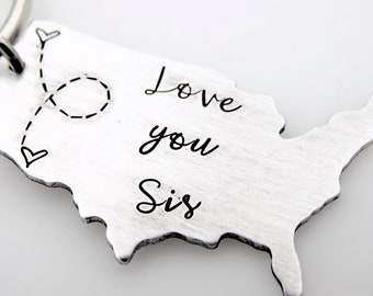 Long distance Sister, Custom Message, going away gift, family long distance, gift ldr, best friend, keychain, USA, map ,personalized states