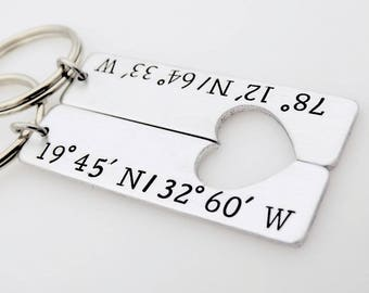 Custom Coordinates Keychains - Long distance Love relationship - going away gift living apart - anniversary gift for him and her - matching