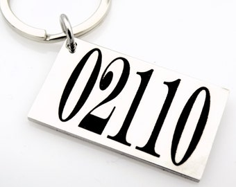 Zip Code - Long distance Gift - New House gift, housewarming gift, welcome to the neighborhood.  Laser engraved stainless steel keychain.