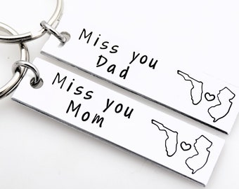 Mom and Dad Long distance keychain Set Custom with 2 states of your choice gift for parents Mother's Day Father's Day