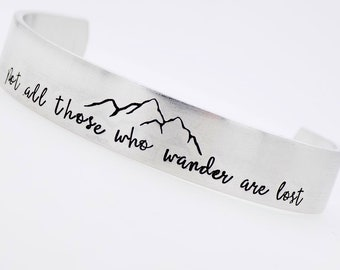 Mountain Climber handstamped bracelet, Wanderer not all who wander, outdoor enthusiast hiking, outdoors man gift, mountains call, jewelry