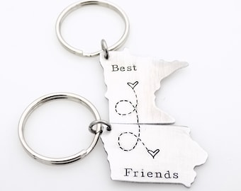 Best Friends map Custom long distance friendship State Key Chains USA ldrship best friends bff gift for friend sisters brothers siblings