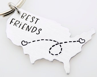 Best friends, Handstamped Keychain, Long distance  family, Going away gift, ldrship, long distance family, long distance friends,Miss you