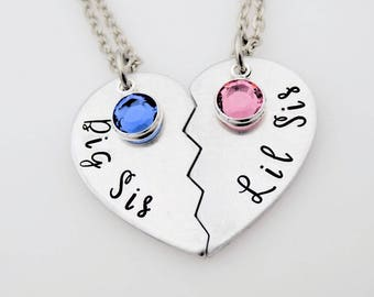Hand Stamped Sorority Sisters Necklace  Big and Little with swarovski Elements  big sister  little sister  college sisters matching set