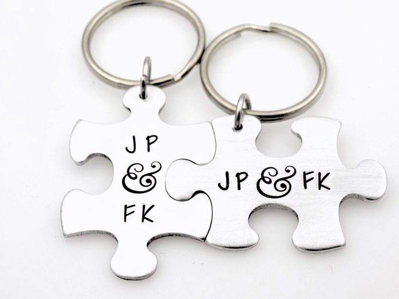 Couples matching puzzle piece keychain gift for girlfriend image 0