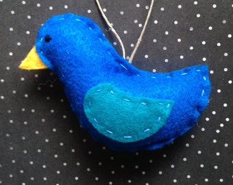 Blue Bird : Felt Christmas Ornament  // READY TO SHIP // Handmade Woodland Decor