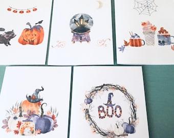 Cute Pumpkin Drawing Card Pack Pumpkin Print Halloween Cards Blank Autumn Cards Set SET