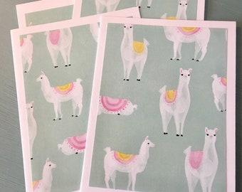 6 Handmade Llama Drama Note Cards with Envelopes