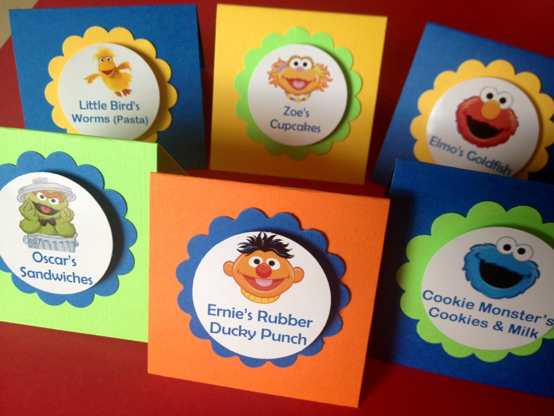 set of 12 sesame street placecards sesame street party