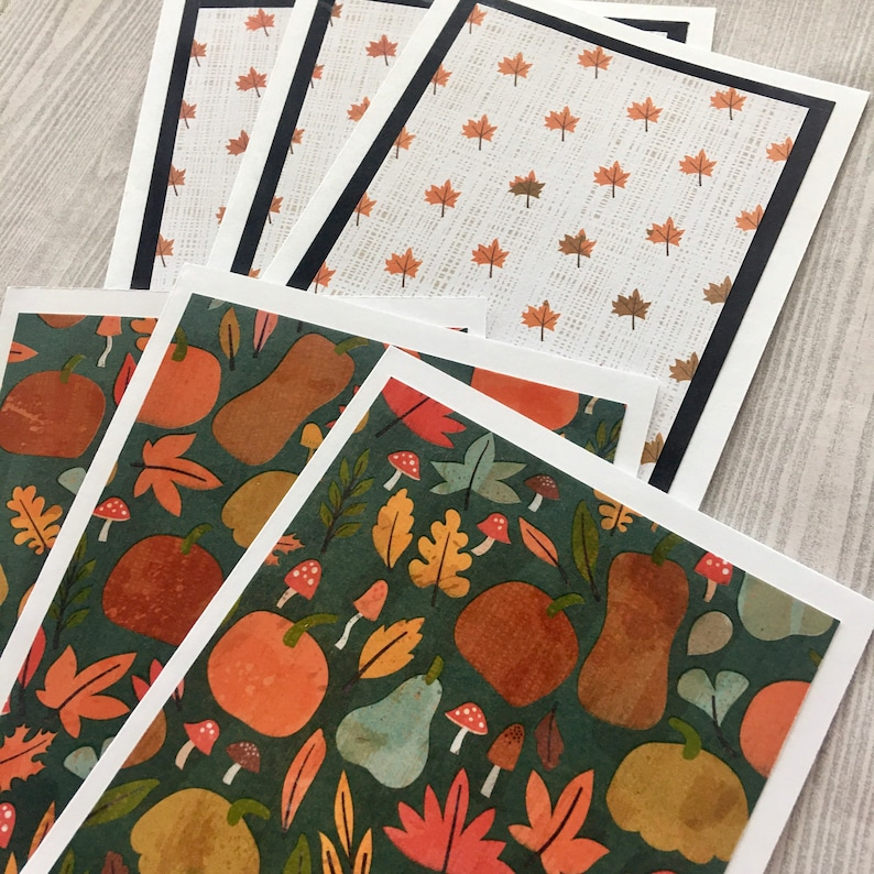 Handmade Fall Cards Thanksgiving Cards Fall cards Embossed Cards Fall Notecards 6ct Assorted Fall Card Set
