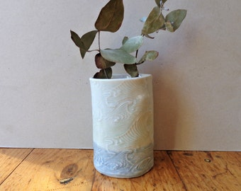 Ocean waves ceramic vase, coastal ombre pastel blue farmhouse style organic wabi sabi vessel rustic home decor centerpiece housewarming gift