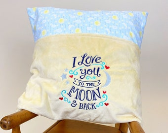 Reading Pillow Cover - Love You to the Moon Reading Pillow - Book Pocket Pillow