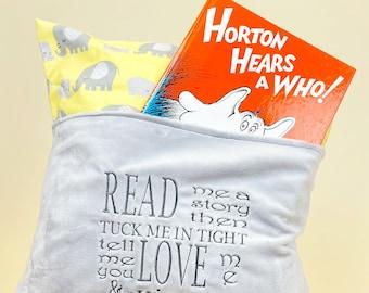 Elephant Reading Pillow Cover - Reading Pillow - Book Pocket Pillow