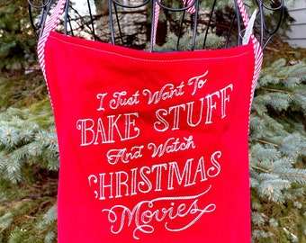 Christmas Movies Apron - Baking Embroidered Apron - Full Baking Apron