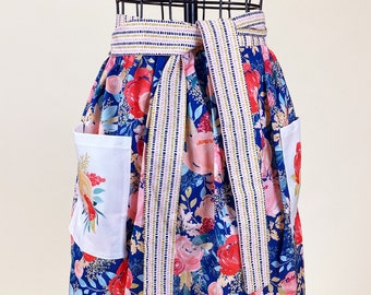 Floral Half Apron - Retro Print Gathered Skirt Apron - Garden Party Apron
