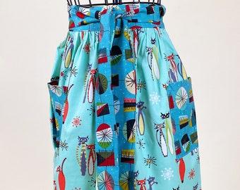 Cat Lover Half Apron - Retro Print Gathered Skirt Apron - Tabby Apron