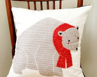 Polar Bear Pillow - Christmas Pillow Hand Embellished - Winter Decor