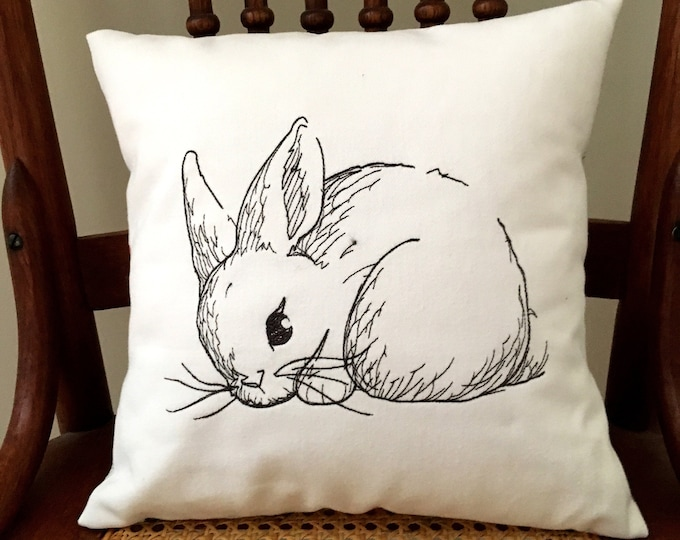 Featured listing image: Bunny Pillow Cover - Easter Decor Pillow Cover