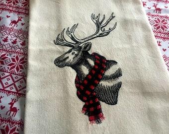 Winter Buck Embroidered Tea Towel - Buffalo Plaid Kitchen Tea Towel