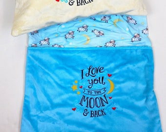 Love You to the Moon and Back Reading Pillow Cover - Reading Pillow - Book Pocket Pillow