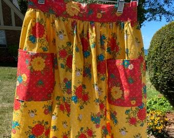 Fall Floral Half Apron - Gathered Skirt Farm Apron