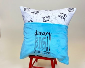Wild Child Reading Pillow Cover - Reading Pillow - Dream Big Book Pocket Pillow