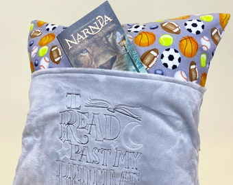 Sports Reading Pillow Cover - I Read Past my Bedtime Reading Pillow - Book Pocket Pillow