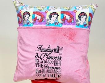 Disney Princess Reading Pillow Cover - Reading Pillow -  Book Pocket Pillow