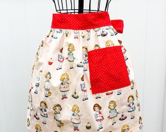 Paper Doll Bakery Retro Print Gathered Skirt Apron - Half Novelty Apron