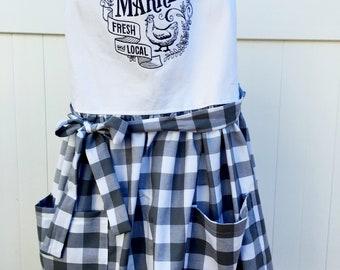 Farmhouse Style Apron - Farmer's Market Apron - Full Skirt Apron