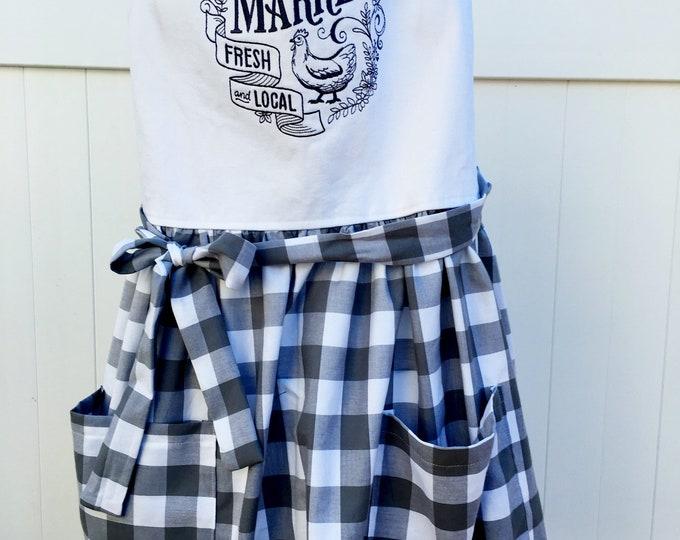 Featured listing image: Farmhouse Style Apron - Farmer's Market Apron - Full Skirt Apron