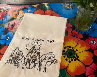 Chicken Tea Towel - Egg-scuse-me Novelty Embroidered Tea Towel