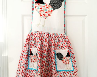 Rooster Kitchen Apron - Gingiber Farmhouse Gathered Skirt Full Apron