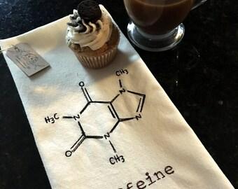Caffeine Molecular Structure Tea Towel - Coffee Lover Towel